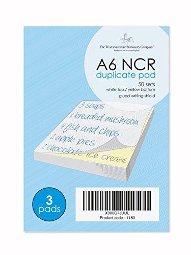 A6 NCR Pads, 2 Teile, (Duplikat), 50 Sätze pro Pad, unbedruckt, 3er Pack