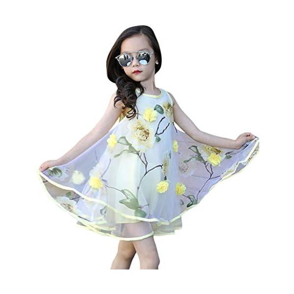 YWLINK Vestido NiñA,Verano Sin Mangas Vestido De La Flor del Chaleco del Fleco del Organza De Las Flores 3D,Vestido De… 3