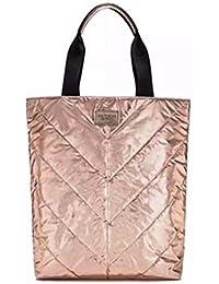 Victorias Secret Beige Canvas Rose Gold Tote Bag SPRING 2017 Limited Edition