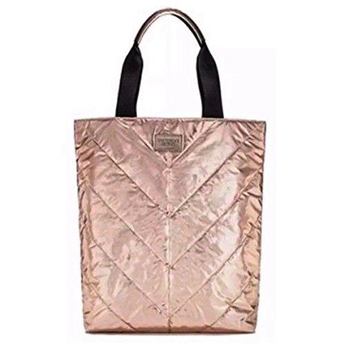 Victoria's Secret Beige Canvas Rose Gold Tote Bag Spring 2017 Limited Edition - Victoria Secret Größen