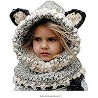 YPSMLYY Animal De Dibujos Animados Sombrero Protección para Los Oídos Cálido Niños Lindos Sombrero Tejido A Mano Bufanda De Otoño E Invierno Adecuado para Niños Y Niñas De 3-12 Años De Edad,Grey
