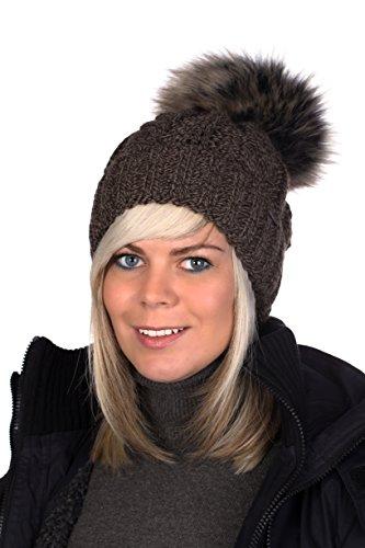 Beanie PB Mütze, Pudelmütze, Wintermütze mit großer Fellbommel aus Fellimitat, Strickmütze hochwertigen Strick (Schokobraun meliert) -