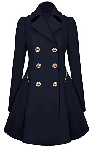 URqueen Women's Vintage Mid-long Slim Fit Double-breasted Button Trench Coat Dark Blue