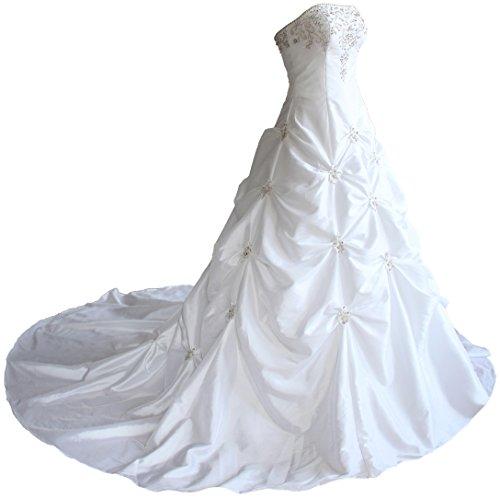 Faironly Liebsten Taft Hochzeits Brautkleid X58 (L, Weiß)