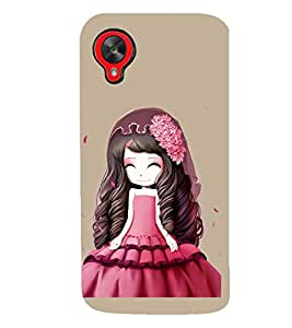 Printvisa Animated Girl with Red Dress Hat and Flowers Back Case Cover for LG Google Nexus 5::LG Google Nexus 5 (2014 1st Gen)