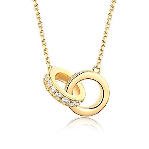 JIAXUN Halskette Lady, Runde Doppelring Anhänger, S925 Sterling Silber, vergoldet, Bester Freund Geschenk