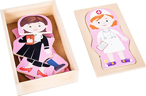 Small Foot 10528Puzzle de Madera, Cuatro Diferentes niña Profesiones Puede se sorprende, práctica Funda de Caja de Madera para el Almacenamiento o Viaje, Integrado en la Tapa