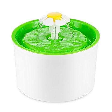 Fontaine à Fleur pour Chat Automatic Electric Flower 1.6 L Pet Water Fountain Drinking Bowl Green