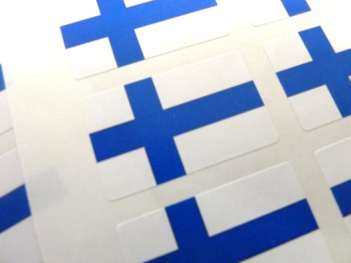 Pack de 60 , 33x20mm , Finlandia autoadhesiva Pegatinas Bandera , Finlandés autoadhesivo bandera Etiquetas