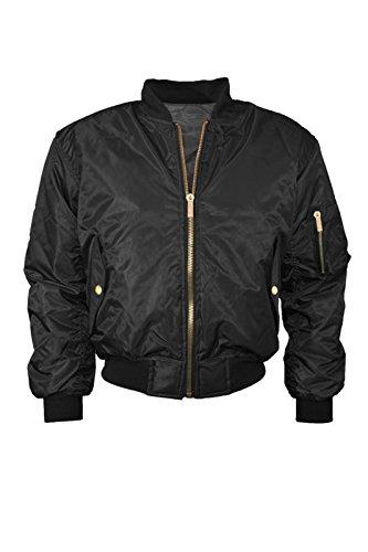 Cexi Couture Womens Klassische MA1 Bomber Jacke Vintage Reißverschluss Biker Jacke Stylisch Gepolsterter Mantel - Schwarz, EU 34 (Jacke Couture Blazer)