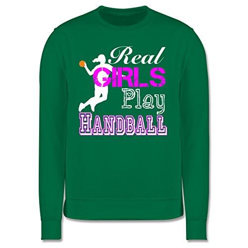 Handball - Real Girls Play Handball weiß - Herren Premium Pullover Grün