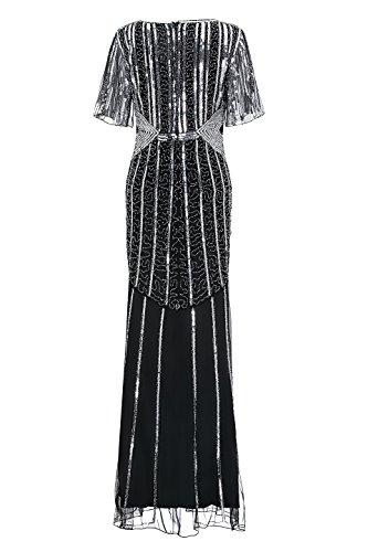 1920er Jahre Retro offene Gabel Ärmel Fischschwanz Saum Pailletten Perlen lange Gatsby Prom Dress Schwarz + Silber