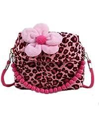 Girls Shoulder Bag Big Flower Fashion Plush Handbag Small Crossbody Purse For Kids Girls
