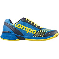Kempa Attack Three, Zapatillas de Balonmano Unisex Adulto, Azul (Bleu Profond/Jaune Citron), 41 EU