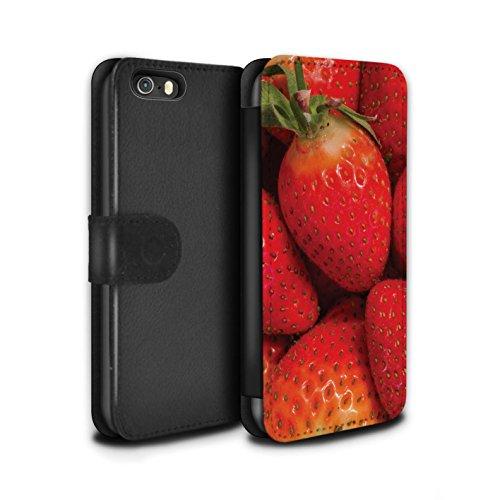 Stuff4 Coque/Etui/Housse Cuir PU Case/Cover pour Apple iPhone SE / Cassis Design / Fruits Juteux Collection Fraise