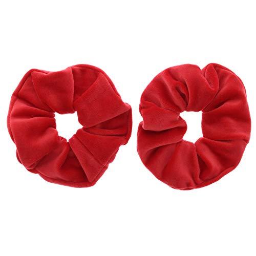 Zac's alter ego - coppia di elastici per capelli in velluto, vari colori rosso acceso. taglia unica