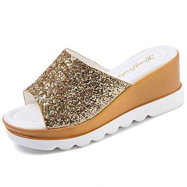 zhENfu donna pantofole & amp; flip-flops sandali Comfort Tessuto esterno in estate passeggiate paillettes Tacco a cuneo Oro Argento arrossendo rosa 1A-1 3/4in Silver
