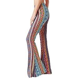 Rameng Pantalón Acampanado Vestido Hippie para Mujer Pantalón de Cintura Alta Pantalón con Estampado Floral Pantalones Hippies Casual Elegante Vestido de Noche Festivo Pantalón Pitillo