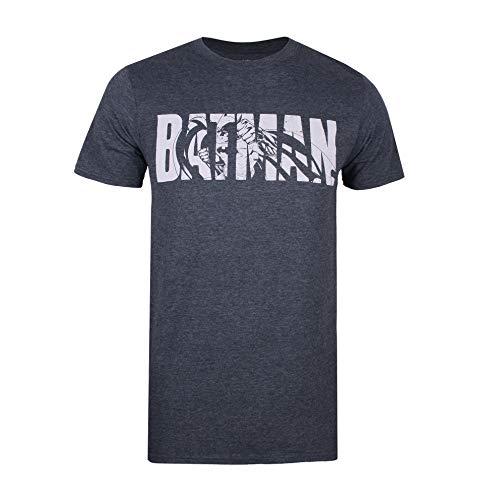 DC Comics Herren Batman Text T-Shirt, Grau (Dark Heather Dkh), Herstellergröße: Medium - Dark Heather T-shirt