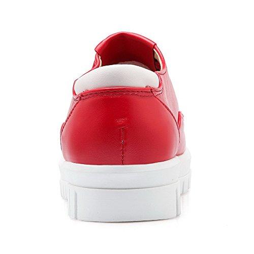 AllhqFashion Damen Pu Niedriger Absatz Rund Schließen Zehe Ziehen Auf Pumps Schuhe Rot