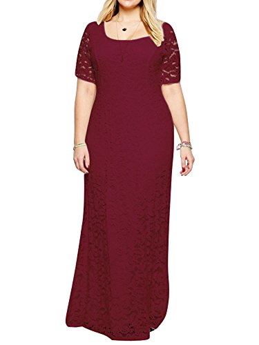 ZiXing Groß Größe Damen Elegante Abendkleid Kurzärmeliges Bodenlang Kleid Spitze Abendanzug Rot 3XL(Büste:100CM-108CM)