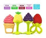 Olele Mordedor Bebes - Suave Sensorial Sin BPA Silicona Natural Mordedor Fruta Bebe | Set de Dentición Libre de BPA para Bebés, Infantil, Niñito (4 unidades)
