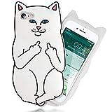 NALIA 3D Cover Custodia per iPhone 8/7, Protezione Ultra-Slim Cartoon Case Protettiva Morbido Cellulare in Silicone Gel, Gomma Bumper Sottile per Telefono Apple iPhone-7/8, Designs:White Cat