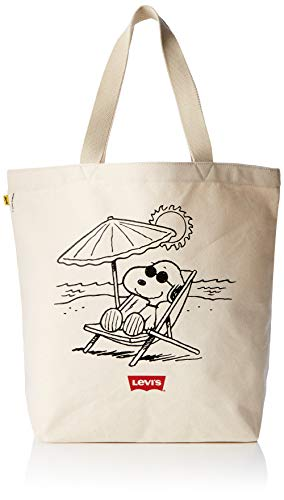 Levi's Unisex-Erwachsene Peanuts Snoopy Beach Tote Stofftasche, Beige (Écru), 39x14x30 centimeters