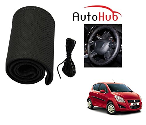Auto Hub Premium Quality Car Steering Wheel Cover For Maruti Suzuki Ritz - Black  available at amazon for Rs.199