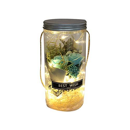 Rose im Glas wünschen Flasche Blaue LED Enchanted Rose Valentinstag Wedding Favor-Dekor-Rosen-Blumen-Lampe (Wedding Gläser Favor)