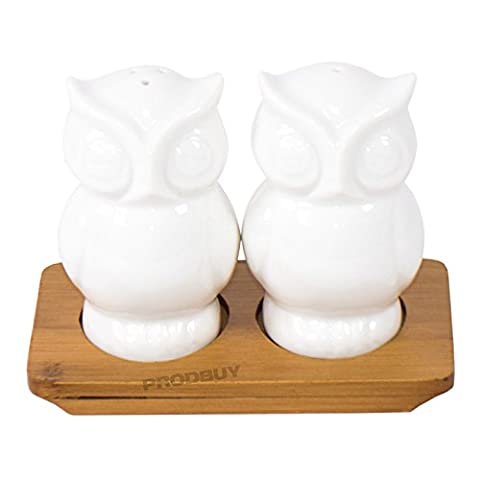 Ceramic Owl Salt & Pepper Pots with Wooden Stand
