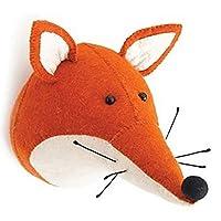 Jiawawa handmade Wool felt animal head wall decor three-dimensional shape decorative wall hanging (Fox)