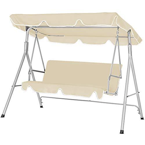 Deuba Hollywoodschaukel | UV-Schutz 50+ 3-Sitzer Metallgestell | Gartenschaukel Gartenliege Schaukelbank Gartenmöbel Beige