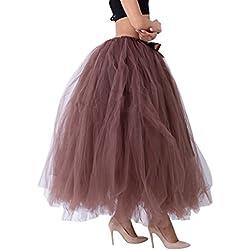 LINNUO Elegante Falda Larga de Tul Plisada Tutu Malla de Noche Fiesta Moda Cintura Alta Elástica Para Mujer