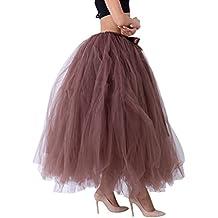 3c793b110 LINNUO Elegante Falda Larga de Tul Plisada Tutu Malla de Noche Fiesta Moda  Cintura Alta Elástica