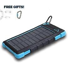 Solarladegerät 12000mAh, PowerLocus® Solar Power Bank Batterie für iPhone Android-Handy Samsung iPad Tablet Camera GPS, Dual USB Port Tragbares Schnittstelle Externer Akku Backup Wasserdicht Stoßfest Staubdicht (Blau)
