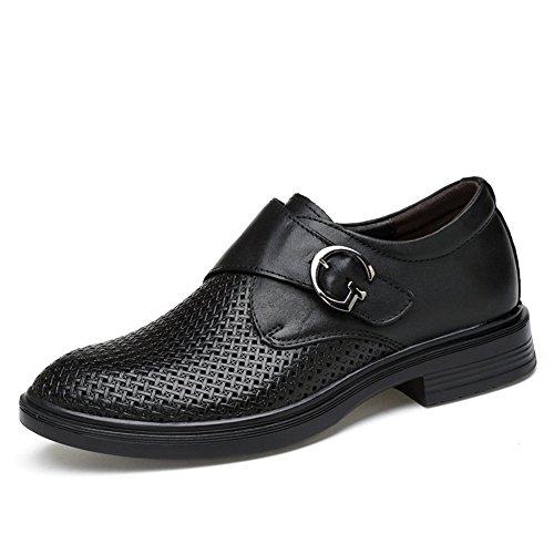ailishabroy Geschäft Lässig Männer Sommer Hohl Atmungsaktiv Echtes Leder Schuhe Schwarz Herren Mokassins (48 EU, Schwarz) (Casual-walking-soft-leder-schuhe)