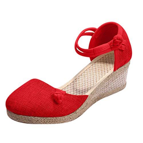 LUCKDE Sandalen Damen Sommer Sandalette mit Keilabsatz Comfort Riemchensandalen Keilsandaletten Schuhe High Heels Pumps