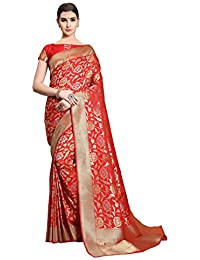 Soru Fashion Women's Kanjivaram Banarasi Silk Saree with Blouse Piece (Cott-793_Red)