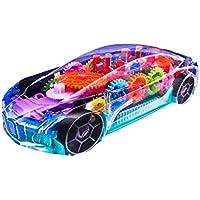 D ETERNAL Transperent Mechanical Car Toy for Kids with Gear Technology,3D Light,Musical Sound & 360 Degree Rotation