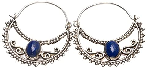 StarGems(tm) Natural Lapis Lazuli Handmade Indian 925 Sterling Silver Earrings 1 1/4