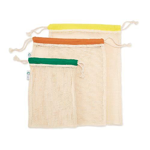 Vatum Obst- und Gemüsebeutel - 3er Set Einkaufsnetze aus Bio-Baumwolle (GOTS) - Wiederverwendbare Baumwollbeutel für EIN plastikfreies Leben - umweltfreundliches Gemüsenetz - Obstnetz | inkl. E-Book