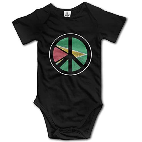 Abigails Home Guyana Flagge Friedenszeichen Design Neugeborenen Kinder Babyspielanzug Kurzarm Kleinkind Overall (2 T, Schwarz) -