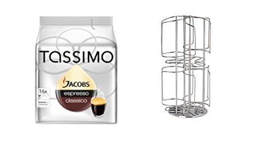 Tassimo Carte Noire Espresso Intense, Espresso intensiv, 100% Arabica, 16 T-Discs + Kaffee-Kapselständer für Tassimo, 48 Kapseln, Silber verchromt