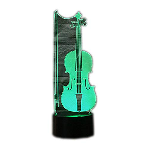 Ahat Romantische 3D Led Illusion Tisch Schreibtisch Deko Lampe 7 Farben ändern Nacht Licht für Schlafzimmer Home Decoration, Hochzeit, Geburtstag, Weihnachten und Valentine Geschenk(Cello)