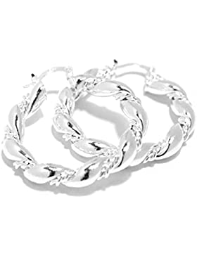 2LIVEfor Creolen Silber groß Versilbert Ohrringe Silber hängend Creolen geschwungen silber 925 Creolen gedreht...