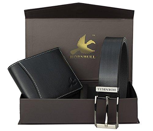 HORNBULL Men's Leather Black Wallet and Belt Combo - BW10496