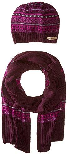 Columbia Damen Winter Mütze Worn Set Einheitsgröße violett - Purple Dahlia (Nordic Knit Hat)