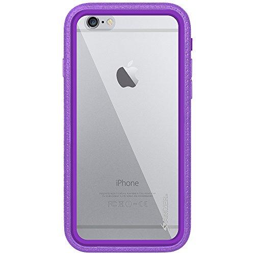 Amzer Crusta edge2edge Shell Housse Coque Étui robuste avec verre trempé et clip ceinture pour iPhone 6Plus Argenté/doré _ P violet