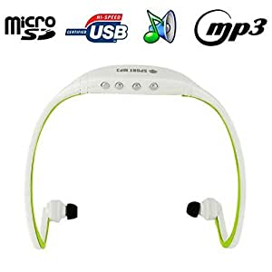 Casque sport sans fil lecteur MP3 audio Micro SD Running vélo Vert